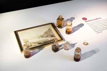 Malutensilien, drapiert um eine von Hortense angefertigte Darstellung des Untersees