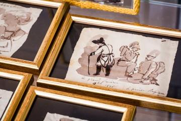 Eine so genannte Klecksographie, die Friedrich den Großen und seinen Stab zeigt
