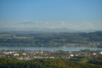 Radolfzell vor Alpenpanorama