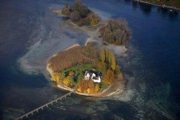 Die Klosterinsel Werd aus der Vogelperspektive